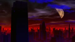 City of aliens. Red luminescence. - stock footage