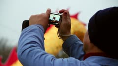 Chinese Worker Making A Picture Stock Footage