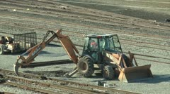 Heavy machinery makes railroad track repair. Stock Footage