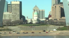 Fast zoomout of Saint Louis Arch - stock footage