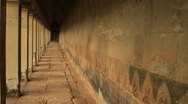 Murals in corridor of Angkor Wat Stock Footage