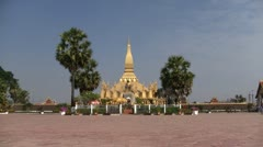 Pha That Luang temple in Vientiane Laos Stock Footage
