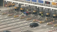 Toll Gate Traffic On Highway Stock Footage