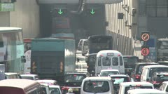 Gridlock Traffic Entering Road Tunnel - stock footage