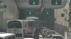 Gridlock Traffic Entering Road Tunnel Stock Footage
