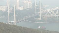 Suspension Bridge Traffic And Ship - stock footage