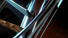 Cello extreme close up  Stock Footage