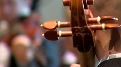 focus pull from contrabass to violin - stock footage