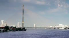 Rama VIII bridge in bangkok Stock Footage