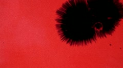 Black blotch on the red background Stock Footage