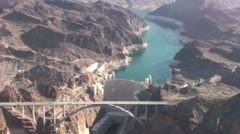Helicopter flight over Hoover Dam Stock Footage