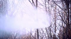 Snowmaking with a snow cannon - closeup - stock footage
