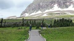 Glacier NP trail hiking mountain P HD 0521 Stock Footage