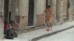Poor Kid Play Ball Cuba Old Havana Stock Footage