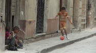 Stock Video Footage of Poor Kid Play Ball Cuba Old Havana
