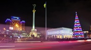 Stock Video Footage of Timelapse 1080p: New Years' Day in Kiev, Ukraine