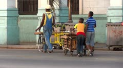 Cuba Old Havana Street Life Fruit Seller - stock footage