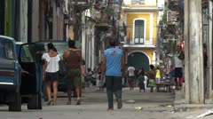 Cuba Old Havana Street Life Stock Footage