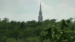 Church Tower On Hill Top In Texas Stock Footage