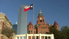 Texas Flag Old Red Court House Dallas Texas Stock Footage