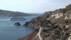 Time lapse of cruise ship leaving the volcanic caldera of Santorini, Greece Stock Footage