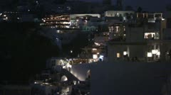 Night in the whitewashed village of Thera on Greek island of Santorini, Greece Stock Footage