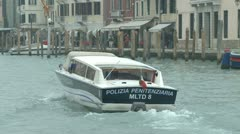 Policeboat on the Canale Grande Stock Footage