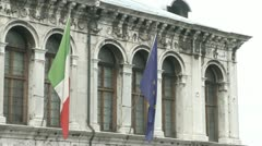 Flags on a facade Stock Footage