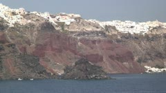 Sailing within the volcanic caldera of Santorini, Greece Stock Footage