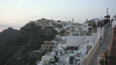 Whitewashed village of Thera on Greek island of Santorini, Greece Stock Footage
