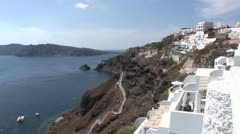 Grand views in the village of Thera on Santorini, Greece Stock Footage