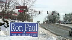 Ron Paul 2008 presidential campaign yard sign - stock footage