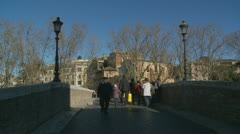 Glidecam over a Roman bridge - almost 2 minute moving shot Stock Footage