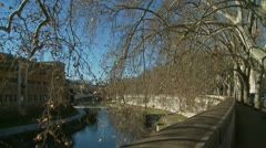 Glidecam along the Tiber in Rome Stock Footage