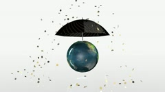 Earth Globe Crashing, golden coins falling on rotating umbrella Stock Footage