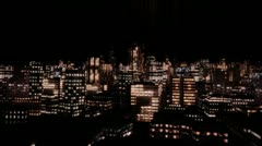 Flying Through City at Night Stock Footage