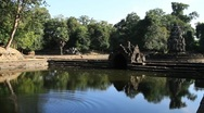 Stock Video Footage of Neak Pean, Angkor Temple above pond