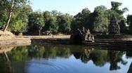 Neak Pean, Angkor Temple above pond Stock Footage
