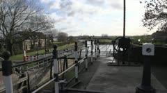 waterway lock openingen bridge - stock footage