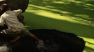 Little boy stirring water of pond Stock Footage