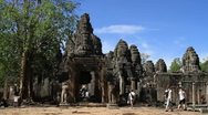 Bayon Temple in Angkor Thom Stock Footage