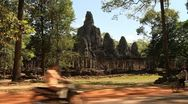 Landscape of Bayon Temple in Angkor Thom Stock Footage