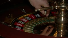 Roulette table close in casino Stock Footage