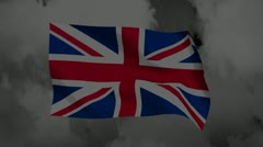 UK flag thunder and cloud cg background for negative image footage - stock footage