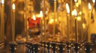 Russian Orthodox Church. Natural wax candles and fire. Stock Footage