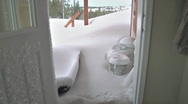 Buried in Snow Blizzard Front Deck through Open Door 1 Stock Footage