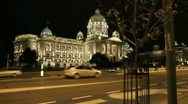 Serbian Parliament Building by NIght Stock Footage