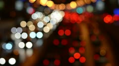 Highly defocused night freeway scene Stock Footage