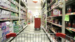 Supermarket cart in high speed Stock Footage