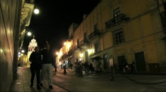 Mexico Street By Night Stock Footage